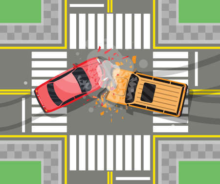 Road accident between two cars. Vehicle collision on grey background. Broken wings and bumpers, crashed windows. Top view. Traffic regulations. Rules of the road. Vector illustration in flat style Иллюстрация