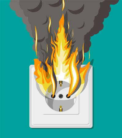 Electrical outlet on fire. Overload of network. Short circuit. Electrical safety concept. Wall socket in flames with smoke. Vector illustration in flat style Ilustração