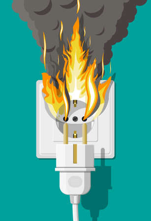 Electrical outlet with plug on fire. Overload of network. Short circuit. Electrical safety concept. Wall socket in flames with smoke. Vector illustration in flat style