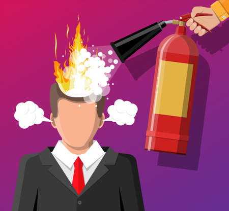 Stressed businessman with hair on fire gets help from man with extinguisher. Overworked man with burning brain, burnt by work. Emotional stress. Man in suit with burning head. Flat vector illustration Vectores