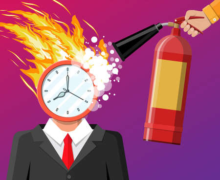 Clock on businessman head in fire. Deadline, late with working task. Overworked business man, stressed office worker. Time management. Control strategy projects planning. Flat vector illustration Çizim