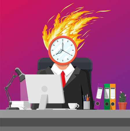 Stressed businessman on workplace tired work on computer. Business man clock head in fire. Deadline late with working task. Overworked stressed office worker. Time management. Flat vector illustration
