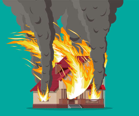 Wooden house burns. Fire in cottage. Orange flames in windows, black smoke with sparks. Property insurance. Natural disaster concept. Vector illustration in flat style 일러스트