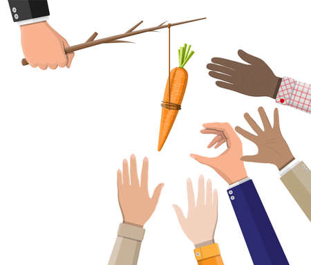 Carrot on a stick in hand. Motivation, stimulus, incentive and reaching goal concept metaphor. Fishing wooden stick with hanging carrot 일러스트