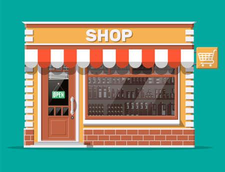 Pusty front sklepowy z oknem i drzwiami. Elewacja drewniana i ceglana. Szklana wizytówka butiku. Mały sklep w stylu europejskim. Komercyjne, nieruchomości, market lub supermarket. Płaska ilustracja wektorowa