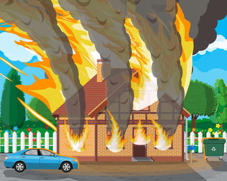 Wooden house burns. Fire in cottage. Orange flames in windows, black smoke with sparks. Property insurance. Nature landscape. Natural disaster concept. Vector illustration in flat style