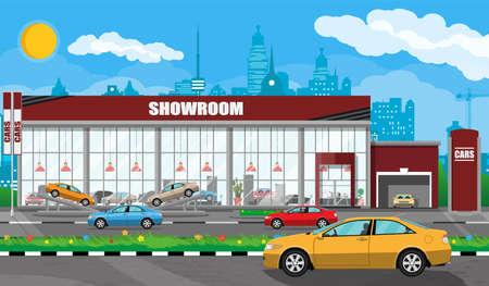 Padiglione espositivo, showroom o concessionaria. Costruzione di autosalone. Centro auto o negozio. Servizio auto e negozio. Paesaggio urbano, strada, casa, albero, cielo, nuvola e cielo. Illustrazione vettoriale in stile piatto