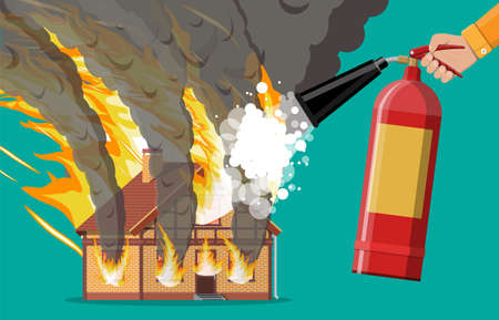 Wooden house burns fire in cottage. Extinguish fire in home. Fireman hand with fire extinguisher. Orange flames, black smoke with sparks. Property insurance. Natural disaster. Flat vector illustration