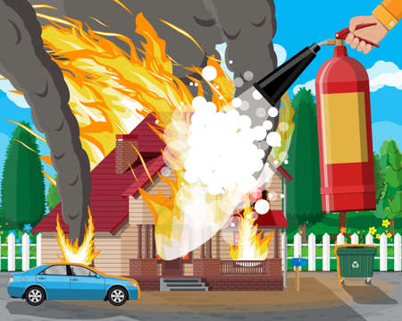 Wooden house burns fire in cottage. Extinguish fire in home. Fireman hand with fire extinguisher. Property insurance. Nature landscape. Natural disaster concept. Vector illustration in flat style