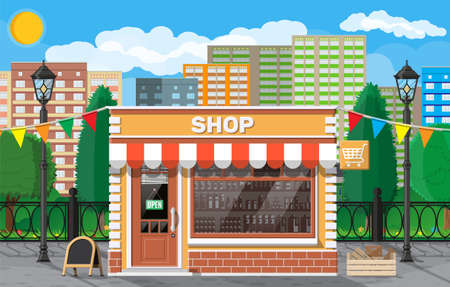 Empty store front with window and door. Glass showcase, small european style shop exterior. Commercial, property, market or supermarket. City park, street lamp and trees. Flat vector illustration