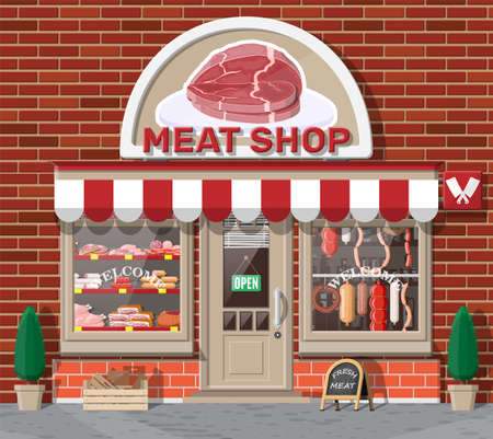Vintage butcher shop store facade with storefront. Фото со стока - 131335528