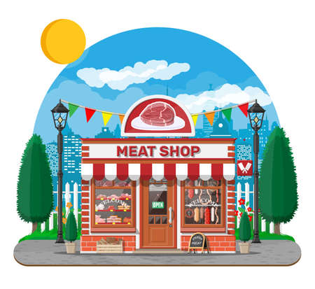 Vintage butcher shop store facade with storefront.