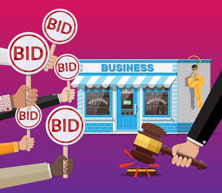 Selling or buying business on auction Vettoriali