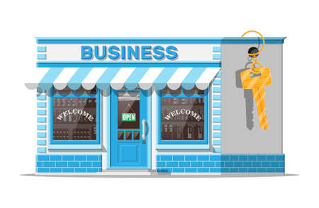 Shop building or commercial property with key. Real estate business promotional, startup. Selling or buying new business. Small european style shop exterior. Flat vector illustration