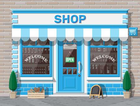Small european style shop exterior.