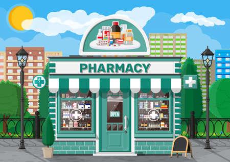 Pharmacie ou pharmacie de façade avec enseigne Vecteurs