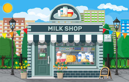 Dairy store or milk shop with signboard, awning.