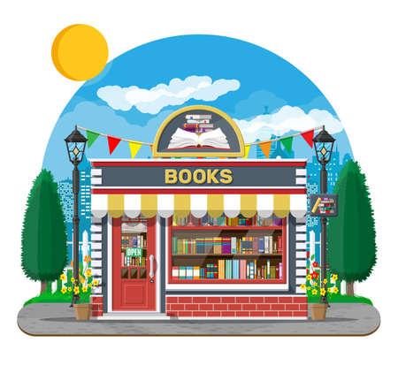 Bookstore shop exterior. Books shop brick building Illusztráció