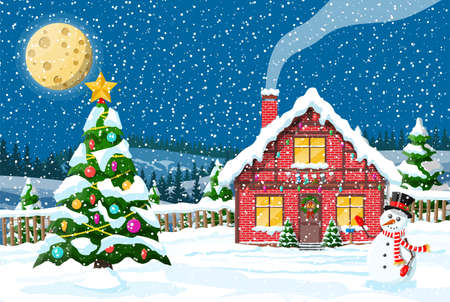 Christmas new year winter landscape