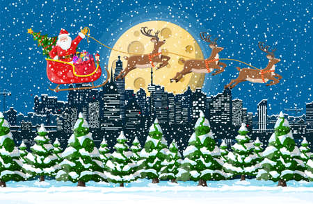Santa claus rides reindeer sleigh. Christmas winter cityscape, snowflakes, buildings. Happy new year decoration. Merry christmas holiday. New year and xmas celebration. Vector illustration flat style