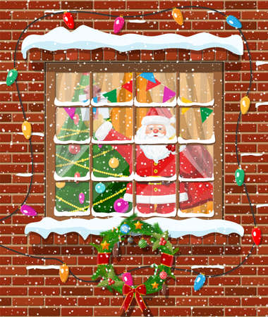 Christmas window in brick wall. Living room with fir tree and santa claus with gift bag. Happy new year decoration. Merry christmas holiday. New year and xmas celebration. Flat vector illustration