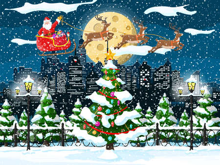 Santa claus rides reindeer sleigh. Christmas winter cityscape, fir tree, buildings. Happy new year decoration. Merry christmas holiday. New year and xmas celebration. Vector illustration flat style Imagens - 132095912