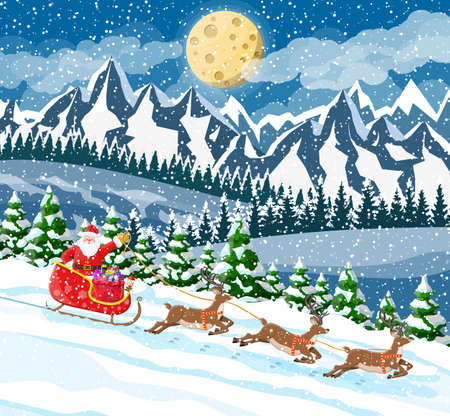 Christmas background. Santa claus rides reindeer sleigh. Winter landscape with fir trees forest mountains and snowing. Happy new year celebration. New year xmas holiday. Vector illustration flat style