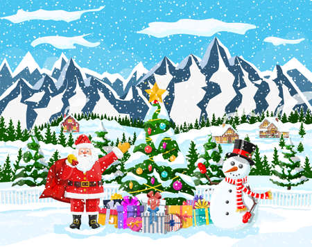 Christmas background. Santa claus with bag with gifts. Winter landscape with fir trees forest and snowing. Village. Happy new year celebration. New year xmas holiday. Vector illustration flat style Stock Illustratie