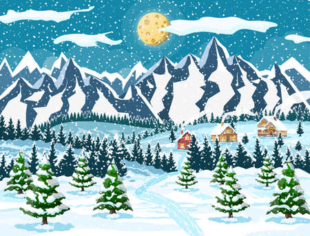 Winter christmas background. Pine tree wood and snow. Winter landscape with fir trees forest, mountain and village. Happy new year celebration. New year xmas holiday. Vector illustration flat style Stock Illustratie
