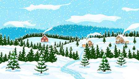 Winter christmas background. Pine tree wood and snow. Winter landscape with fir trees forest and village. Happy new year celebration. New year xmas holiday. Vector illustration flat style