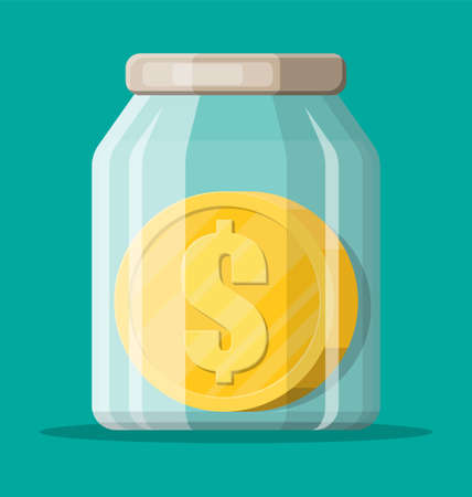 Glass money jar with big gold coin. Saving dollar coin in moneybox. Growth, income, savings, investment. Symbol of wealth. Business success. Flat style vector illustration.