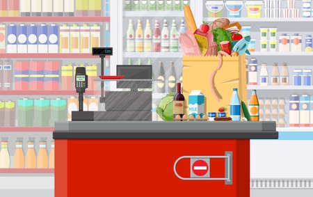 Supermarket store interior with goods. Big shopping mall. Interior store inside. Checkout counter, cash machine, grocery, drinks, food, fruits, dairy products. Vector illustration in flat style Vector Illustration