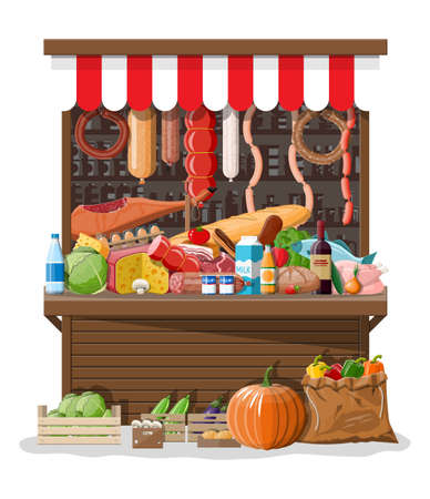 Market store interior with goods. Big shopping mall. Interior store inside. Checkout counter, grocery, drinks, food, fruits, dairy vegetables products. Vector illustration in flat style