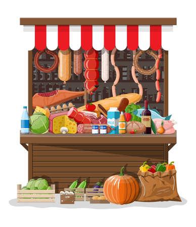 Markt winkel interieur met goederen. Groot winkelcentrum. Interieur winkel binnen. Kassa, kruidenier, drankjes, eten, fruit, zuivel groenten producten. Vectorillustratie in vlakke stijl