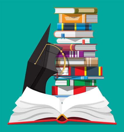 Tapa de graduación y pila de libros. Ilustración de vector