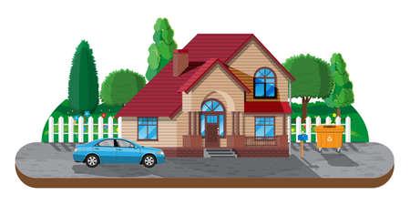Suburban family house. Countryside wooden house Ilustração