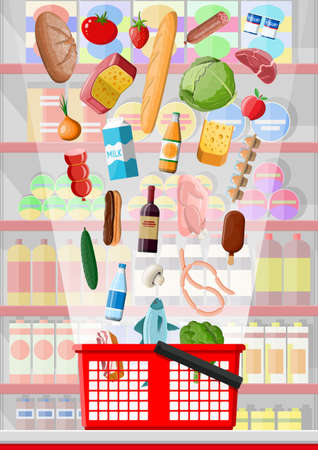Supermarket store interior with goods. Big shopping mall. Interior store inside. Checkout counter, grocery, drinks, food, fruits, dairy products. Vector illustration in flat style Vecteurs