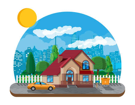 Suburban family house. Countryside wooden house icon. Car, road, fence, forest with trees and building. Urban panorama cityscape. Real estate and rent. Vector illustration in flat style