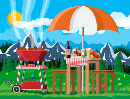 Bbq party or picnic. Table with bottle of wine, vegetables, cheese, can of beer. Electric grill with barbecue. Cooking steak, meat and sausages, grilling bbq. Vector illustration flat style