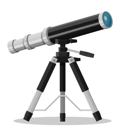 Telescope magnification equipment on tripod. Old gold spyglass for marine travel. Vintage nautical device. Observe and education. Vector illustration in flat style