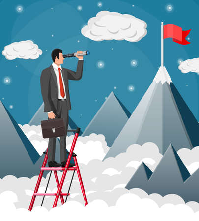 Businessman with briefcase on ladder looking for opportunities in spyglass. Business man look up to the target on mountain. Success, achievement, business vision career goal. Flat vector illustration