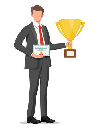 Businessman holding trophy and showing certificate