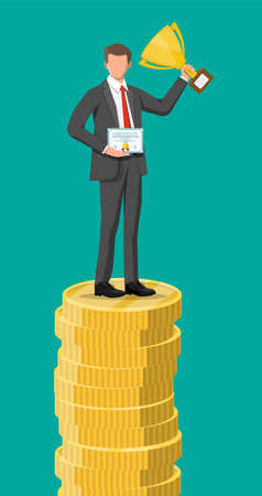 Businessman holding trophy, showing award certificate celebrates his victory. Stacks of golden coins. Business success triumph goal achievement. Winning of competition. Flat vector illustration