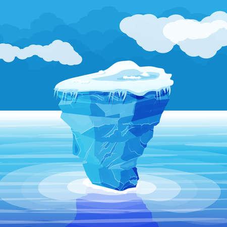 Gran iceberg y océano. Hielo en el mar.