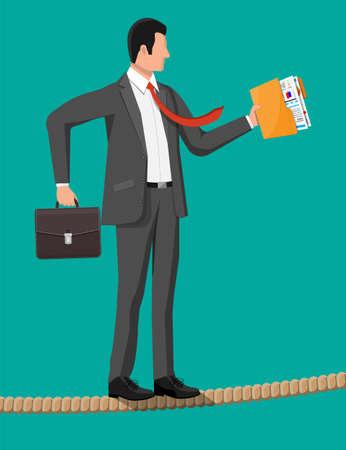 Businessman in suit walking on rope