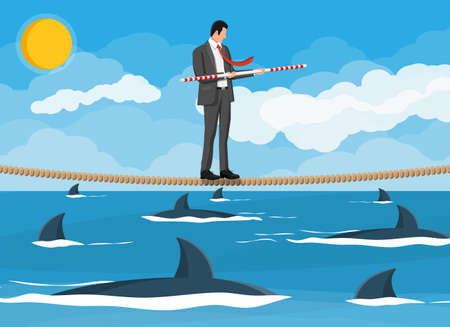 Businessman walking a tightrope over shark in sea