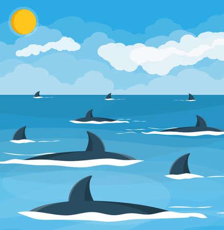 Group of sharks at sea illustration. 向量圖像