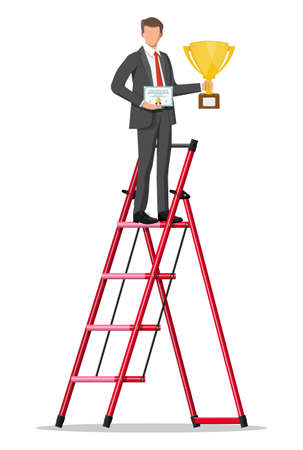 Businessman on ladder with trophy and certificate