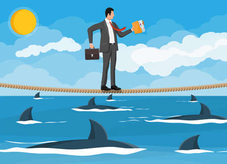 Businessman walking a tightrope over shark in water. Businessman in suit walking on rope with briefcase. Obstacle on road, financial crisis. Risk management challenge. Flat vector illustration Ilustrace