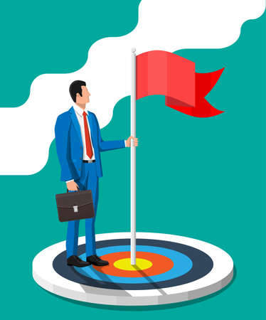 Businessman in suit with briefcase standing with red flag on target. Symbol of victory, successful mission, goal and achievement. Business success. Flat vector illustration Ilustrace
